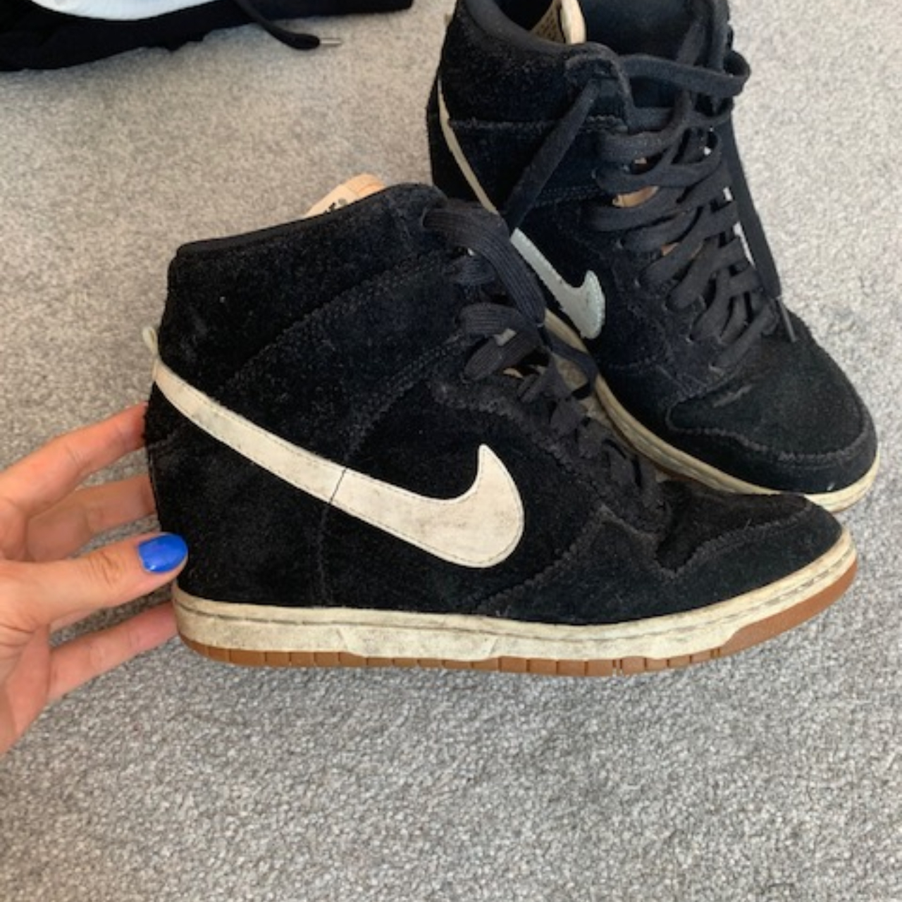 Trainers. Black with white tick. Size