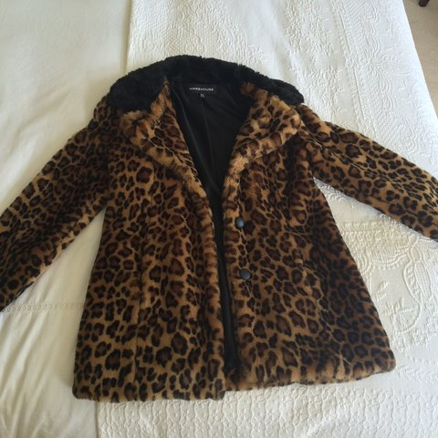 dab4e1801ae3 @davvvv. 4 years ago. East Sussex, UK. Warehouse Faux Fur Leopard Print Coat .