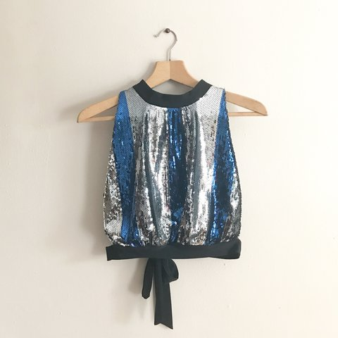 5e18bd47b81 New With Tags - Blue Silver and Black Crop Top - Open Back - - Depop
