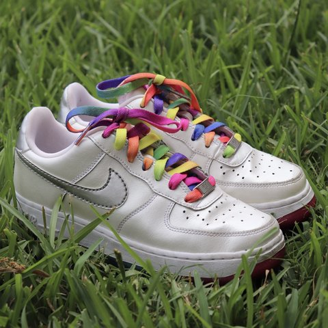 93eefa72f48a Nike Air Force 1 Rainbow LE (GS) 🌈 these are in amazingggg - Depop
