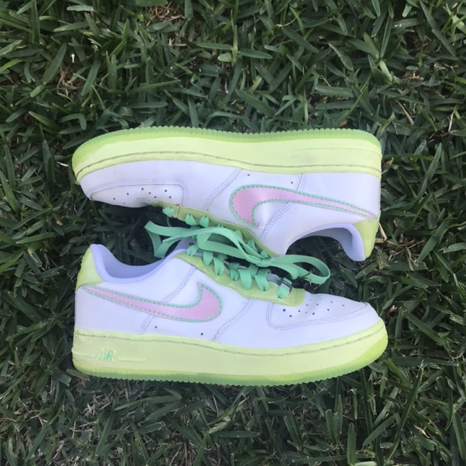 Nike Air Force 1 Lime Green, Pink, and