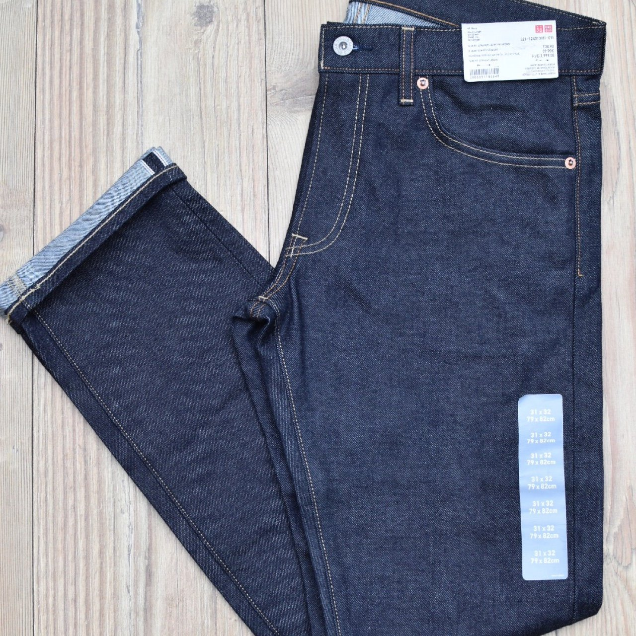 90398340 Brand new Uniqlo selvedge slim fit jeans for sale. Never 31 - Depop