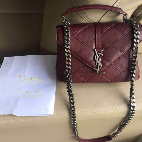 Authentic YSL Collège Bag in dark red patchwork leather This - Depop 59635da148909