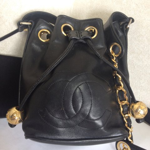 8b3085fcec531b Vintage CHANEL black lamb leather mini hobo bucket shoulder - Depop