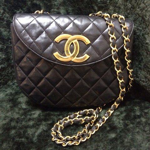 a5c03aa3a494 80's Vintage CHANEL black quilted lambskin shoulder purse CC - Depop