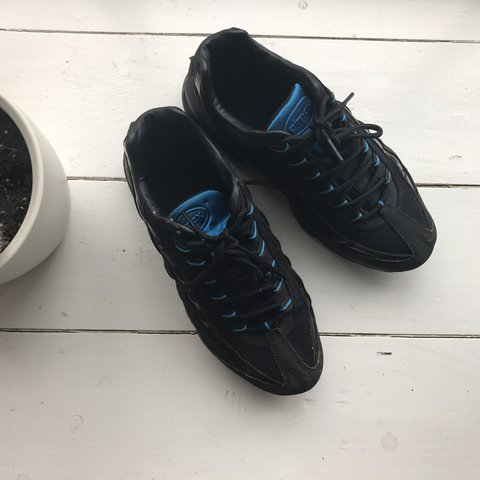 e61ffcd7f2 @sophiemfh. last year. London, UK. Nike air max airmax 95 95s triple black  with light blue ...
