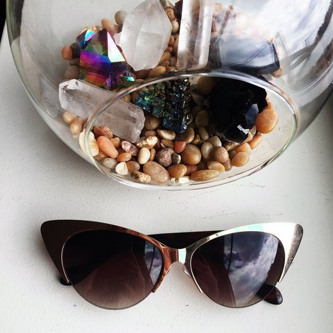 cb752855a5  tiffanycanfly. 2 years ago. United States. Topshop cateye sunglasses with  gold metal frames. Brown lenses
