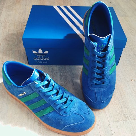 46845bed91bf Blue and Green adidas Hamburg Swede trainers! Only worn once - Depop