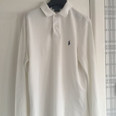 da353179 @bensharmy. 8 months ago. Bury, United Kingdom. WHITE RALPH LAUREN MEDIUM CUSTOM  FIT POLO LONG SLEEVE SHIRT