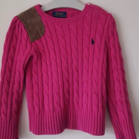 6ae129e158318d @itsnina_ox. 8 months ago. Slough, United Kingdom. RALPH LAUREN GIRLS PINK  COTTON CABLE KNIT JUMPER/SWEATER.