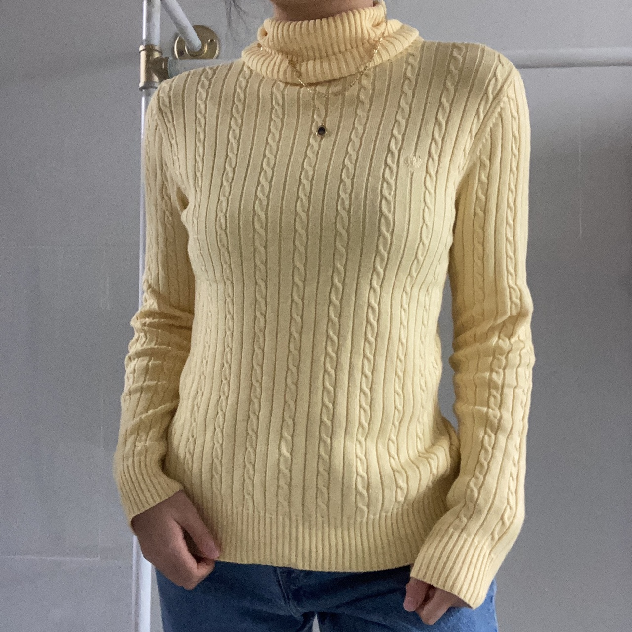 Pastel Light Yellow Braided Cable Knit Texture Turtleneck Long