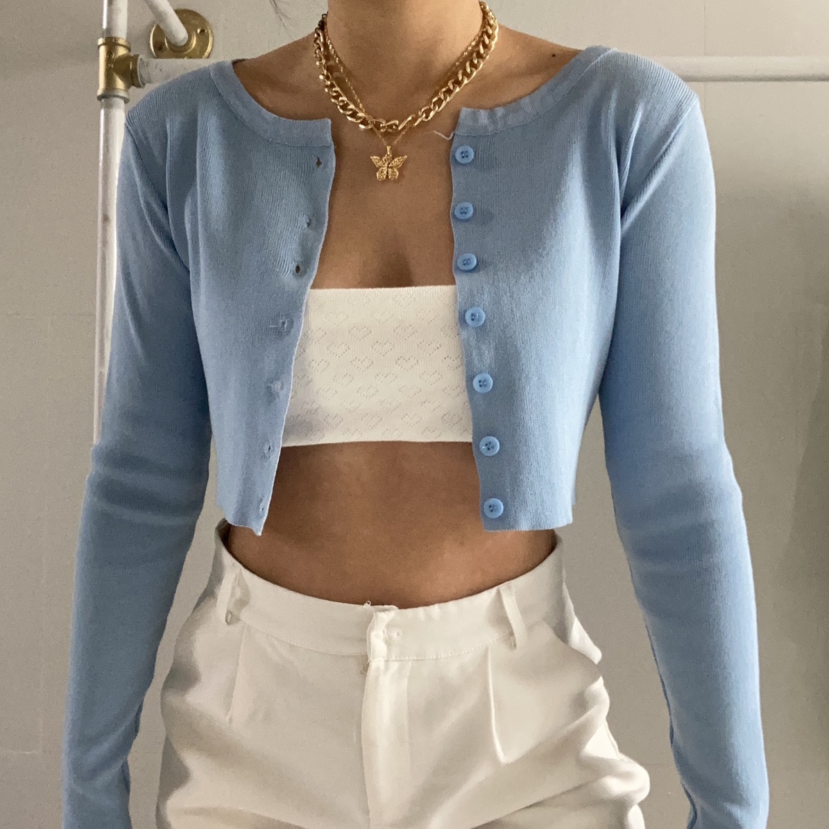 Baby Blue Button Down Long Sleeve Cardigan Top