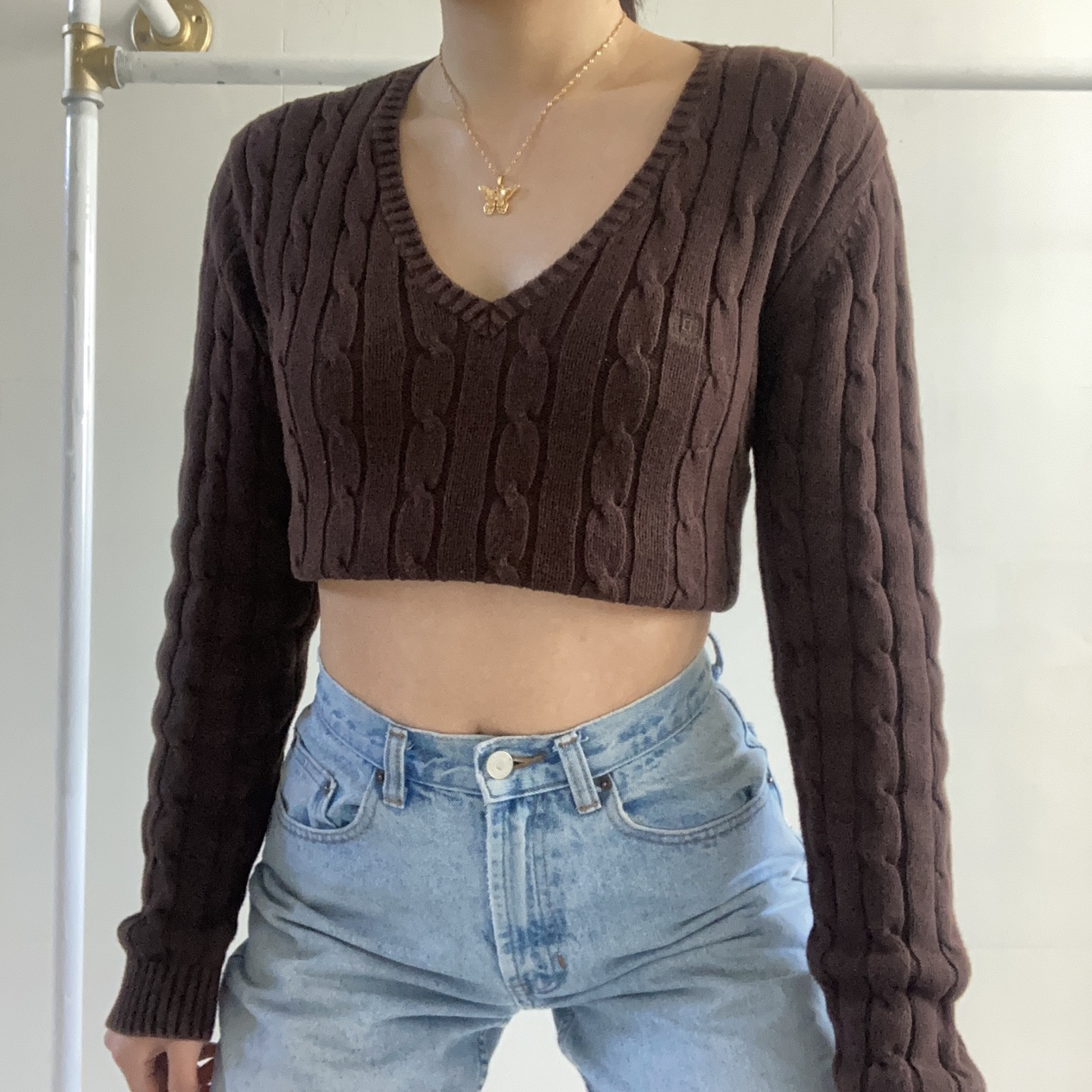 Dark Mocha Brown Cable Tight Knit Sweater