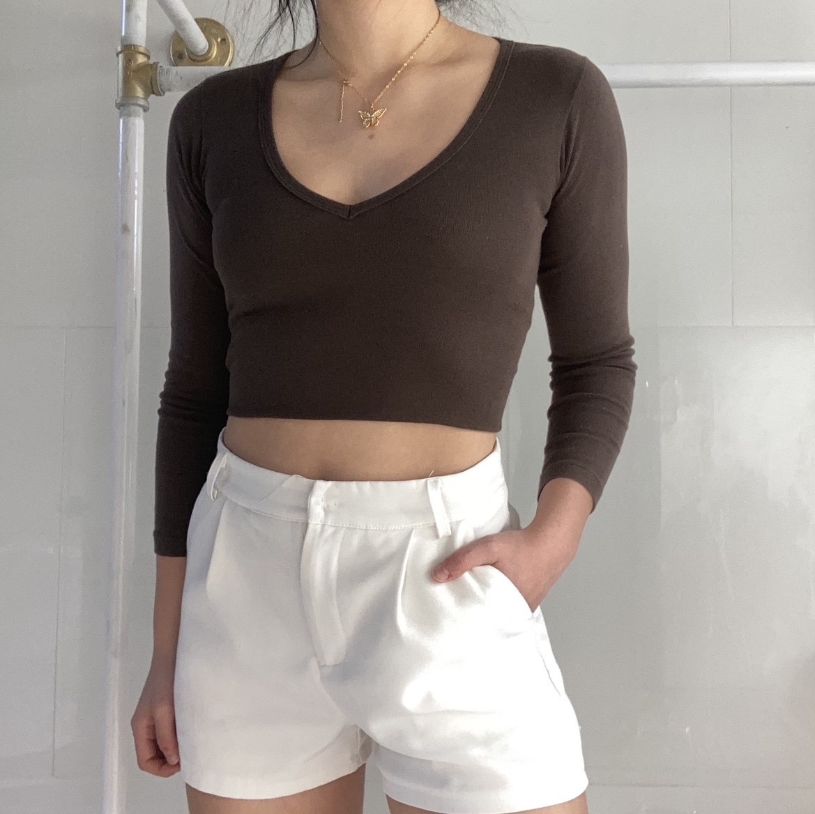 Coffee Brown Henley Ribbed Long Sleeve V Neck Top
