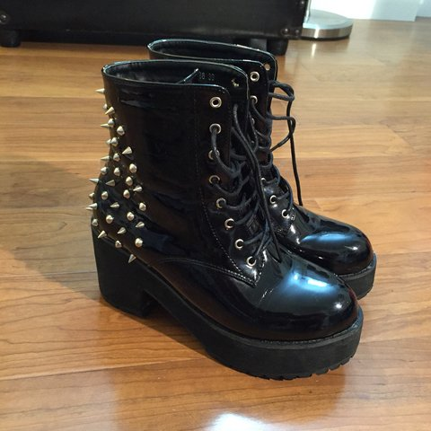 5621337105c Spiked Patent Platform Boots. Super cute! Got from a and are - Depop