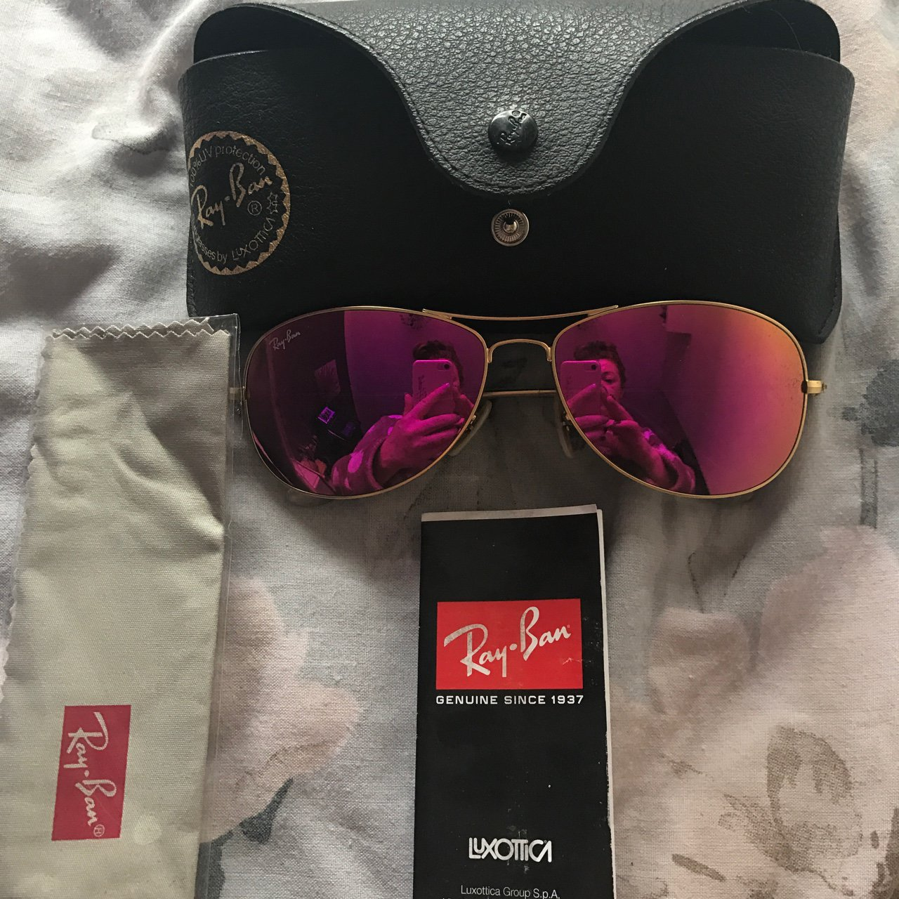 8d6737b860 Ray ban pink aviator sunglasses. Worn once. RRP £140 from - Depop