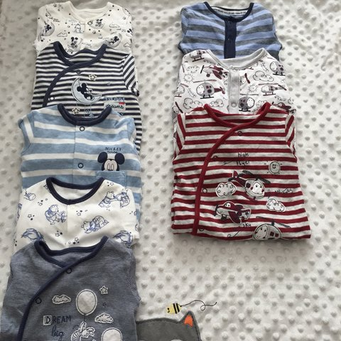 16ca01559 Baby boy bundle of 8 babygrows 5 on left mix Mickey Mouse & - Depop