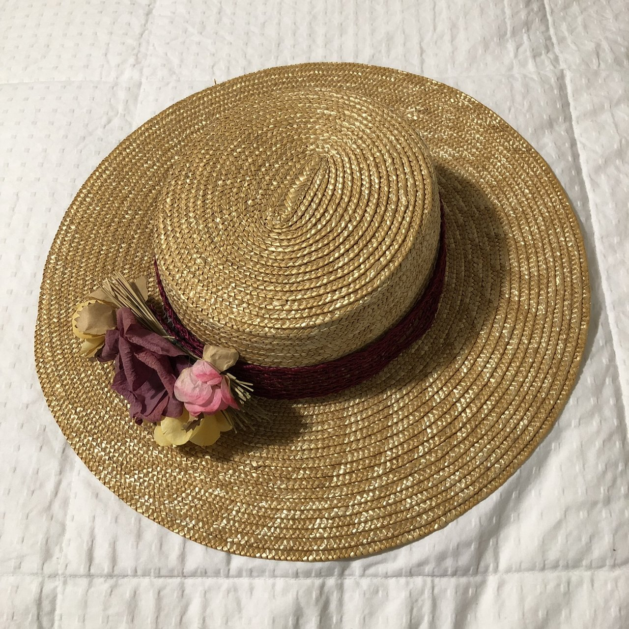 Vintage straw hat with floral cb0054a60272