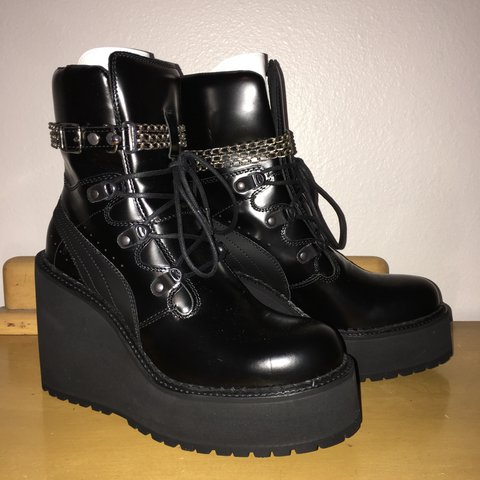 4956e6101a1 FENTY PUMA by RIHANNA SB black wedge boots    style no.    9 - Depop