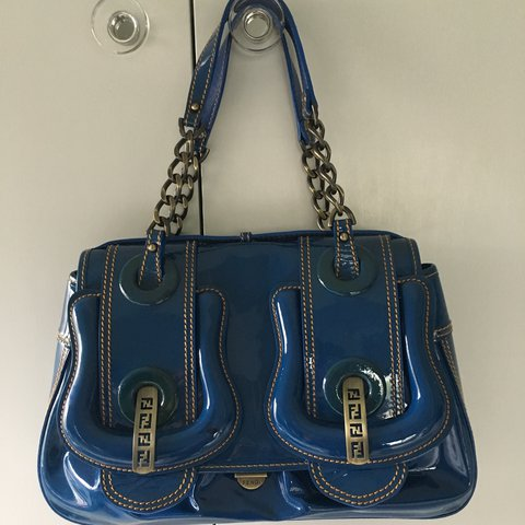 581413ae37f0 Fendi B Bag. Royal blue patent leather handbag with brushed - Depop