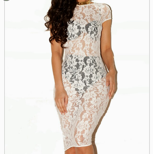 Celeb Boutique Aviana White Lace Dress With Black Depop