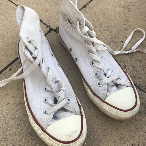 adc465fded07ed Converse All Star Hi-top White Colour Size 5 Worn quite - Depop