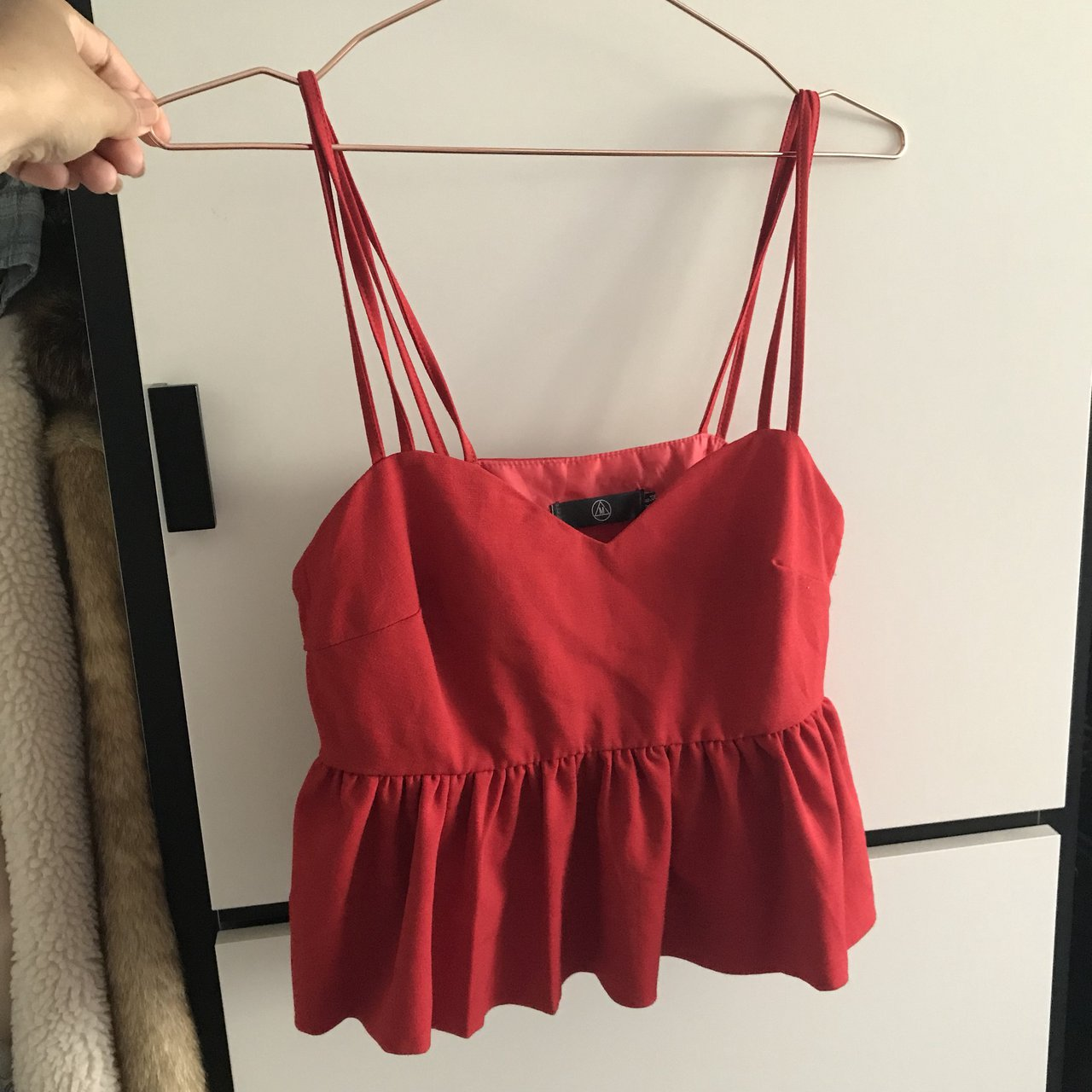 MISSGUIDED pretty red frill bralet top. a6f7a8bfb17df