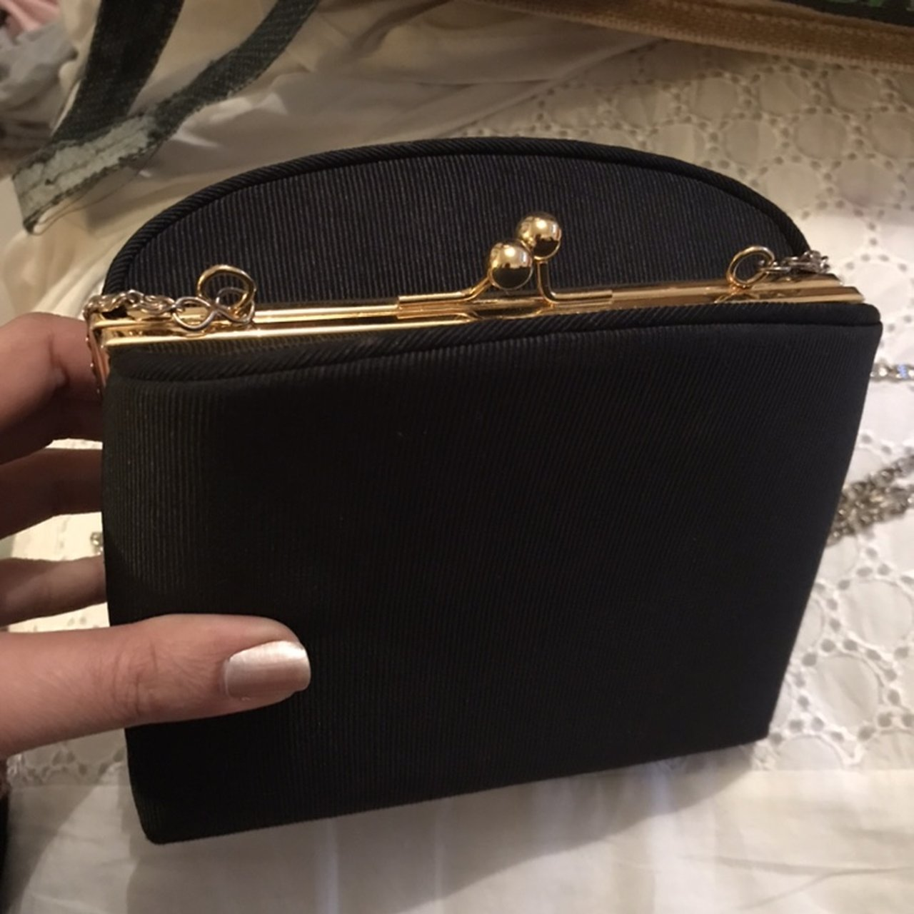 Vintage clutch purse with gold detailing f031201895085