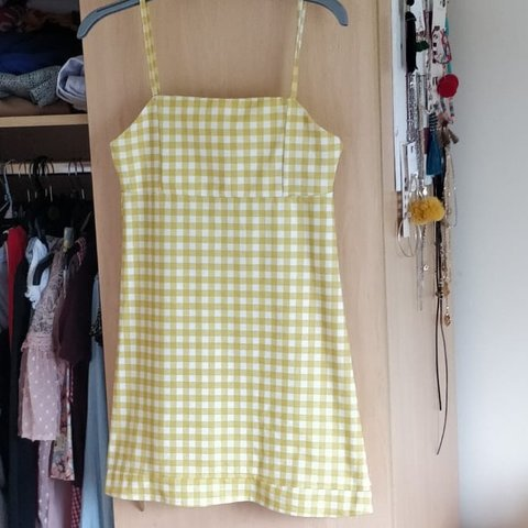 054fd296b7be ON HOLD* Selling this yellow checkered dress from pull and - Depop