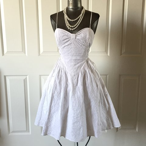 d5a363518ad Lovely Betsey Johnson corset waisted white eyelet dress. is - Depop