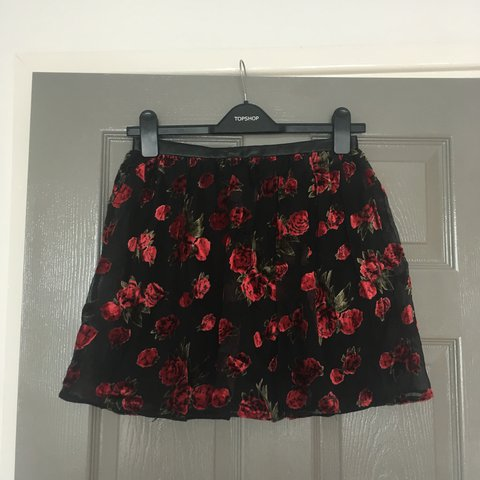 40bb9ce4a @chloprosser. 3 days ago. Cardiff, United Kingdom. River island black skirt  with red floral overlay. Velvet ...
