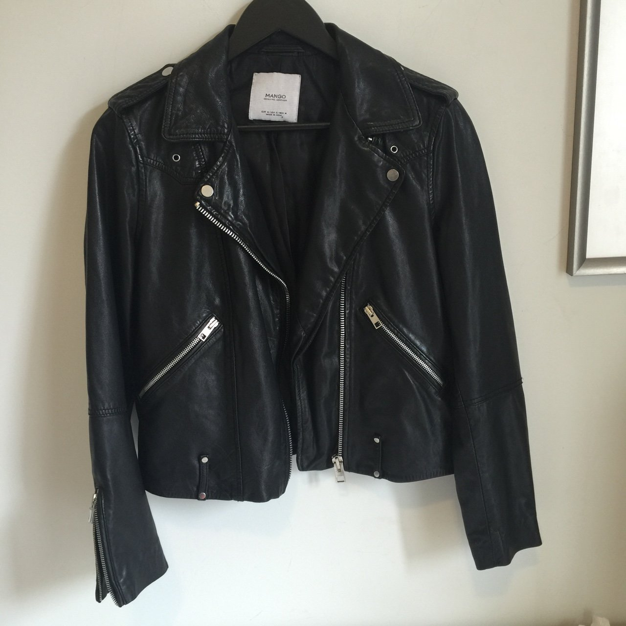 Mango Genuine Leather Jacket Worn Twice On Photo Shoot In Depop