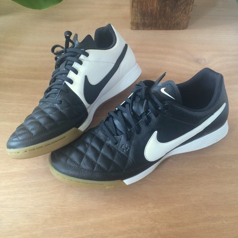 a9db61662 Nike Tiempo indoor soccer shoes with a clean black white gum - Depop