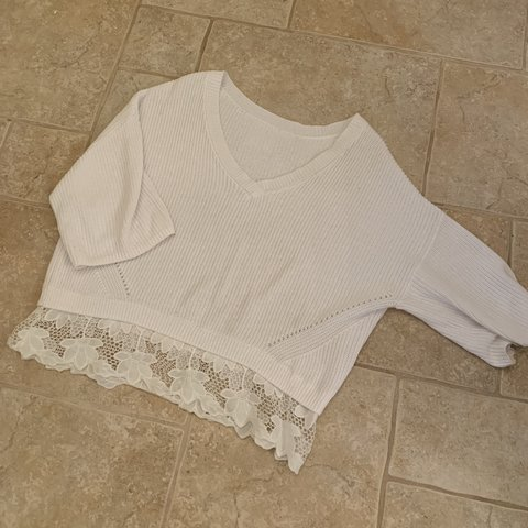 fe6f084f @tillytop11. 14 days ago. Uxbridge, United Kingdom. White lace jumper  received lots of compliments worn once fits ...