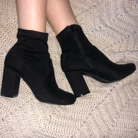 c24101bf193 @heavenlythrift. last year. Salem, United States. BLACK SUEDE SOCK BOOTS  🍒features chunky block heel