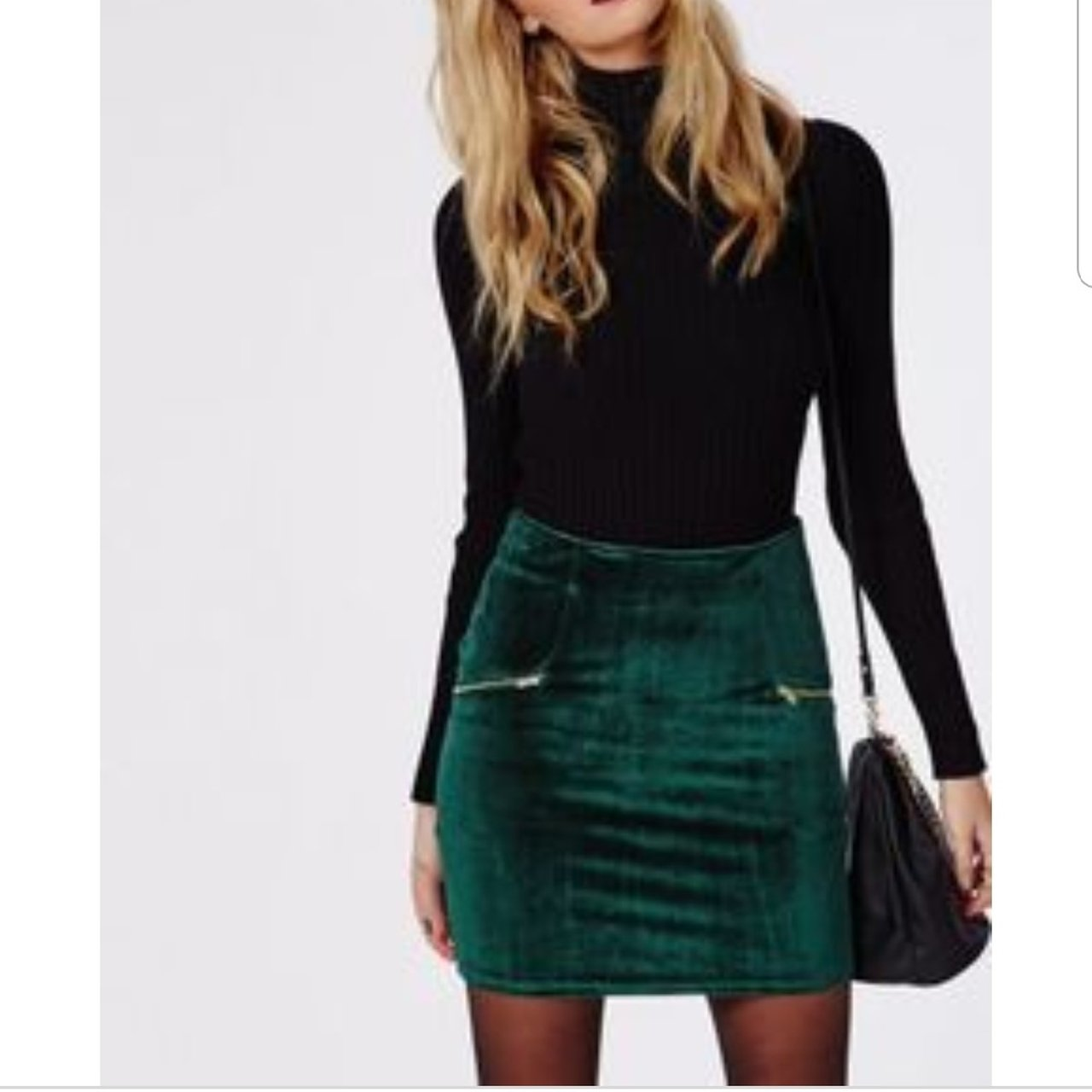 f91c61ebe53d Velvet Zip Detail Mini Skirt Dark Green – DACC