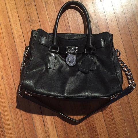 60eb0c0fe2bf @carley_marissa. 2 years ago. Rye Brook, NY, USA. PRICE DROP!!! Authentic Michael  Kors medium Hamilton genuine leather satchel in black with gorgeous silver  ...