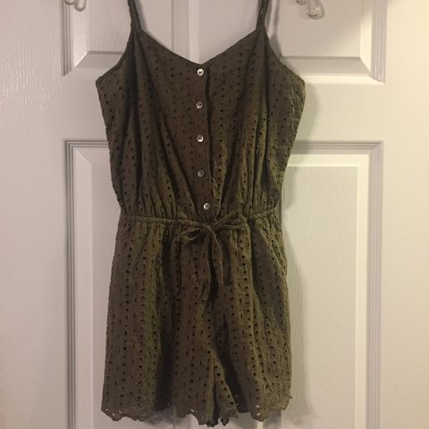27ba567df3 SUPER CUTE army   olive green eyelet romper from forever 21! - Depop