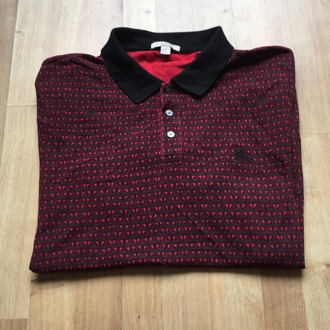 9be1fc8a7 Large Red Patterned Burberry Brit Polo Top