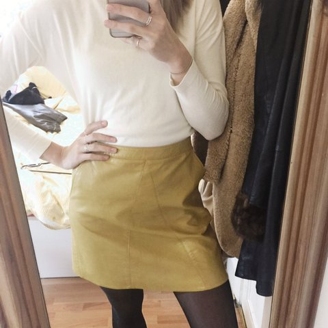ff9bca5efa8e @ariyoshi. 4 years ago. London, UK. Faux leather a line skirt in mustard  yellow ...