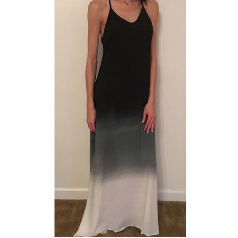 Black blue and white ombré maxi dress. With crochet back. in - Depop 6d2c5f66a