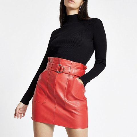 58c5413cd5 Red paper bag waist faux leather skirt. Worn twice, Gorgeous - Depop