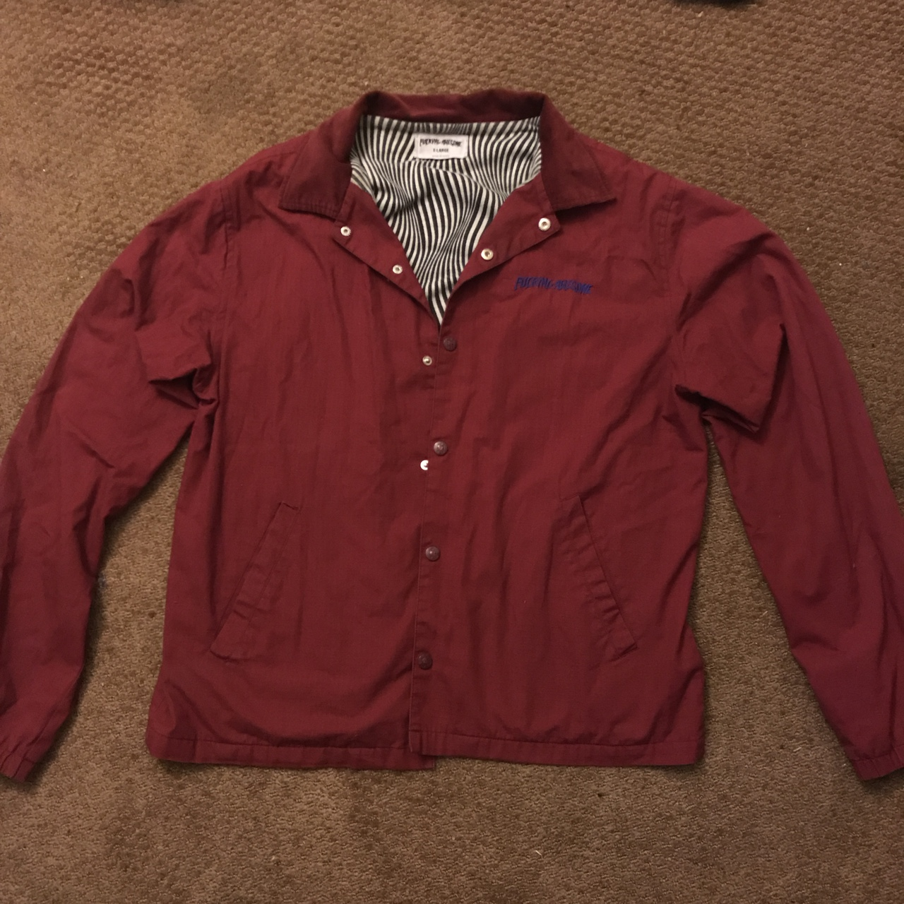 4b762c6bc FUCKING AWESOME SHIT COACH JACKET MAROON with... - Depop