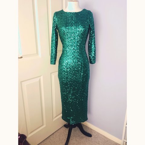 90a2c3a8 @rosiec90. 4 years ago. Blyth, Northumberland, UK. Stunning cowl back green  sequin midi bodycon dress.