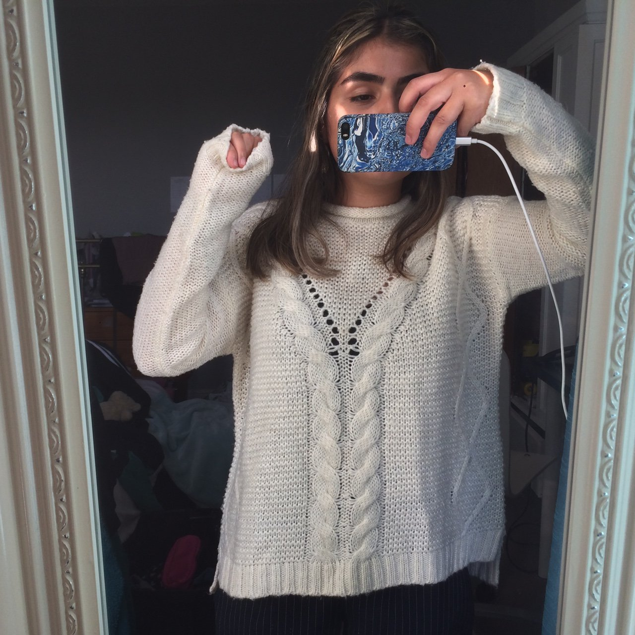391ab7c39d Chunky knit cream white knitted jumper. Warm and cosy urban - Depop