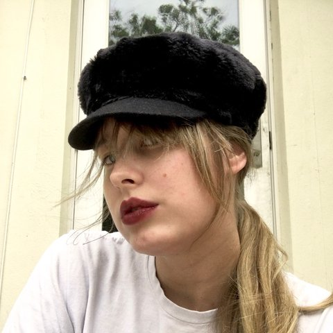 """0c38241f CYBERMONDAY ON HOLD Black Furry """"Newsboy"""" Hat. Is that what - Depop"""