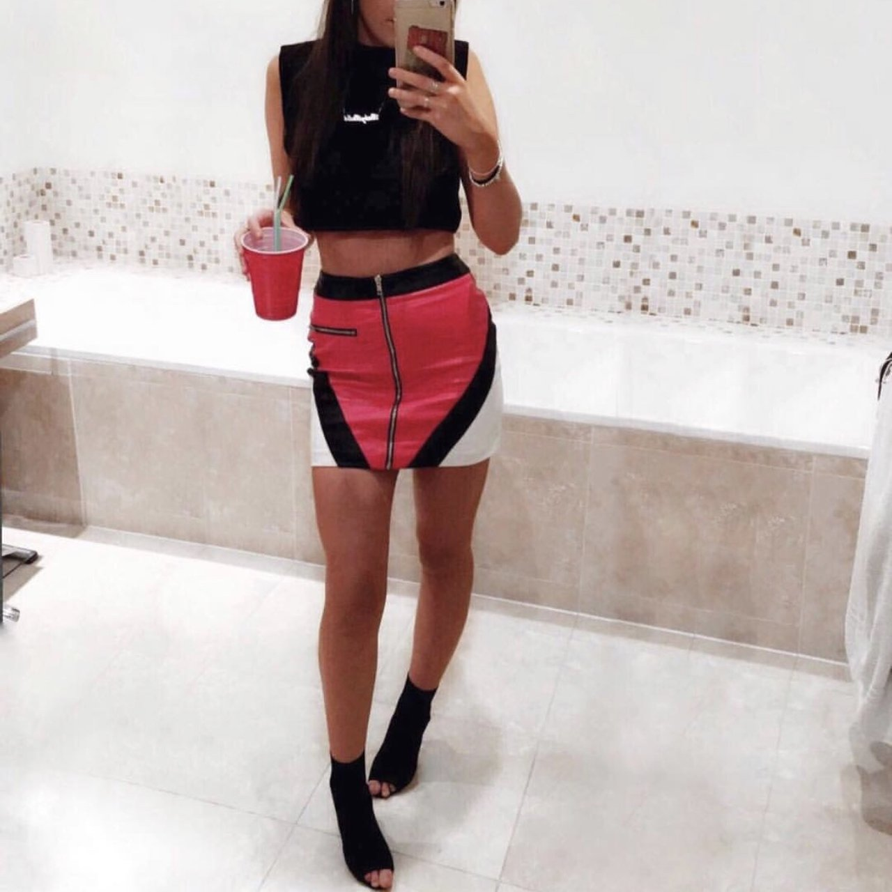 633c1ea724 @isabellahyde14. 4 months ago. Woking, United Kingdom. Red white and black faux  leather skirt