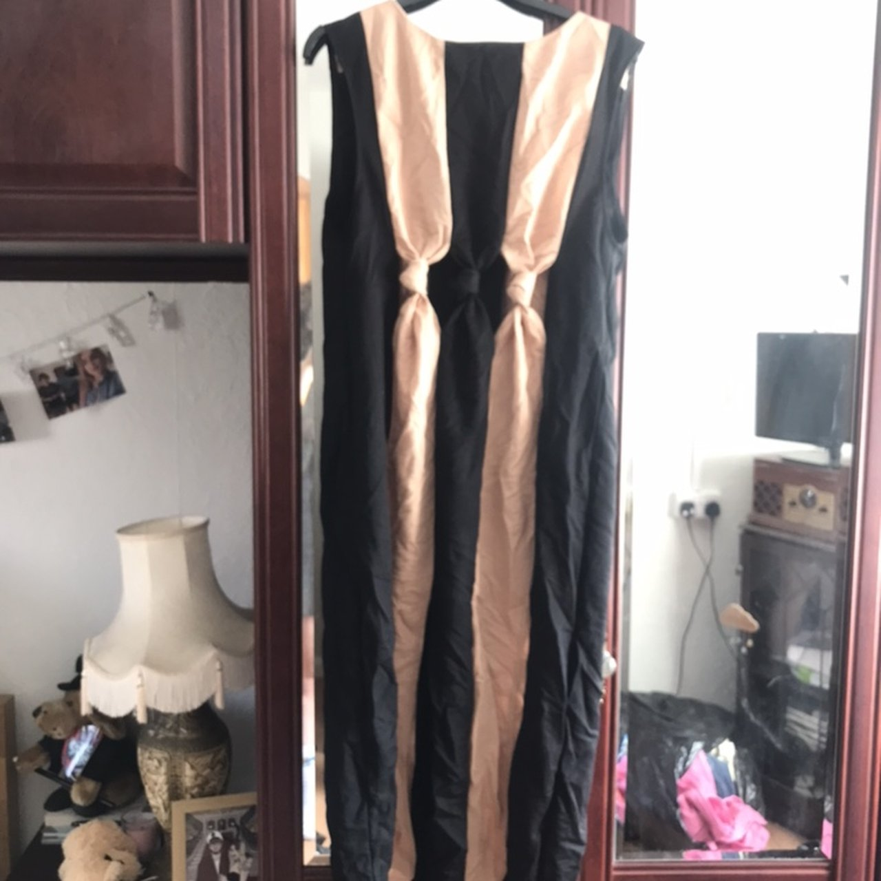 aa21d0df @anniewilliams_. last month. Wirral, United Kingdom. ZARA Black Camel Two  Tone Striped Dress with Knot Detail ...