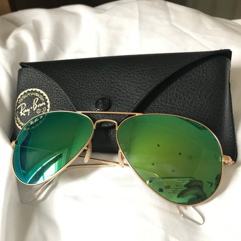 d5b9700c64 Ray-Ban Green Flash Mirror Aviator Sunglasses with gold with - Depop