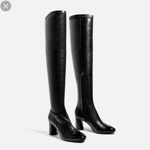 55df1c8174e Zara Heeled Leather Over Knee Boots with Patent Toe. Brand   - Depop